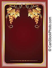 achtergrond, met, wijnstok, ornament