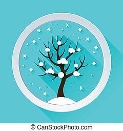 achtergrond, met, winter boom, in, plat, ontwerp, style.