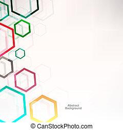 achtergrond, met, zeshoeken