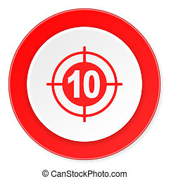 achtergrond, moderne, doel, pictogram, cirkel, ontwerp, plat, rood, 3d, witte
