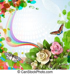 achtergrond, mooi, rozen