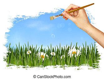 achtergrond, natuur, illustratie, hand, vector, vasthouden, brush.