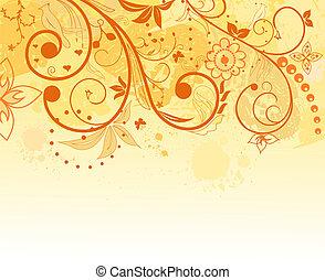 achtergrond, ontwerp, bloem, grunge, element