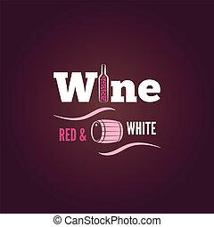 achtergrond, ontwerp, fles, wit rood, wijntje