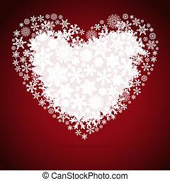 achtergrond., ontwerp, kerstmis, hart, sneeuwvlok