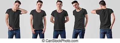 achtergrond, ontwerp, witte , black , vrijstaand, presentation., 5, jonge, t-shirts, kerel, set