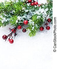 achtergrond, op, boompje, sneeuw, decoraties, kerstmis