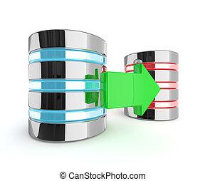 achtergrond, op, twee, vrijstaand, richtingwijzer, witte , servers, 3d
