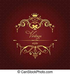 achtergrond., ornament, goud, bruine