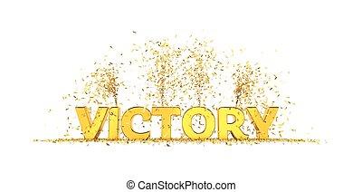 achtergrond, overwinning, woord, witte , confetti, gouden, brieven