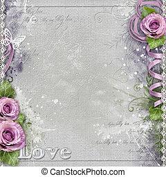 achtergrond, paarse , ouderwetse , kant, rozen, lint