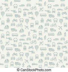 achtergrond, pattern., seamless, icons., vervoeren