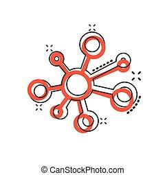 achtergrond., pictogram, effect., molecule, style., verbinding, netwerk, witte , meldingsbord, gespetter, vrijstaand, vector, spotprent, hub, komisch, illustratie, concept, dna, zakelijk, atoom