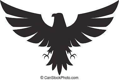 achtergrond, pictogram, vrijstaand, witte , adelaar, illustratie