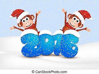 achtergrond, postkaart, 2016., jaar, nieuw, witte , aapjes