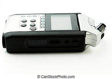 achtergrond., registreerapparaat, witte , vrijstaand, handig