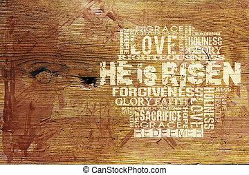 "achtergrond, religieus, ""he, risen"""