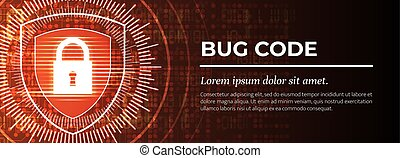 achtergrond., rood, vector., digitale , insect, code.