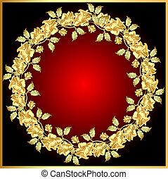 achtergrond, roos, gold(en), cirkel