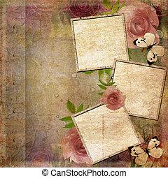 (, achtergrond, roze, lijstjes, rozen, set), groene, 1, ouderwetse