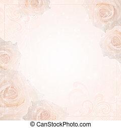 achtergrond, rozen, trouwfeest, frame, mooi