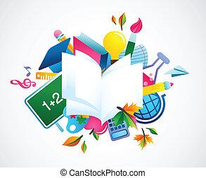 achtergrond, school, -, back, kleurrijke