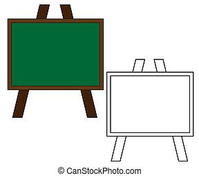 achtergrond., school, witte , vrijstaand, plank