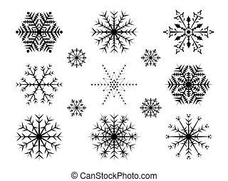 achtergrond., set, snowflakes, kerstmis, whirte