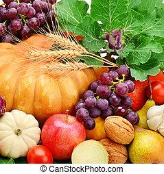 achtergrond, set, van, groentes, vruchten, en, groente