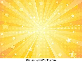 achtergrond, sinaasappel, starburst