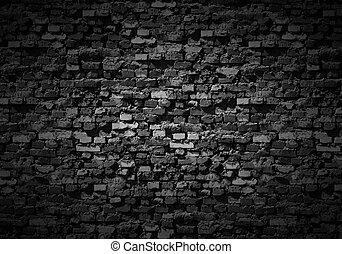 achtergrond., somber, brickwall