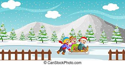 achtergrond, spelend, rijden, berg, geitjes, vrolijke , winter, arreslee