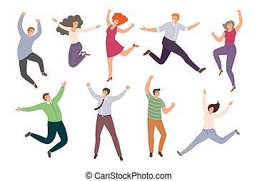 achtergrond., stijl, springt, groep, vrolijke , mensen, hand-drawn, gekke , witte , vrouwen, spotprent, vrijstaand, verzameling, plat, men.