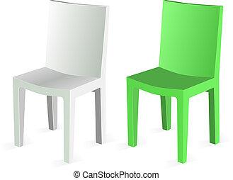 achtergrond., stoel, vector, vrijstaand, witte