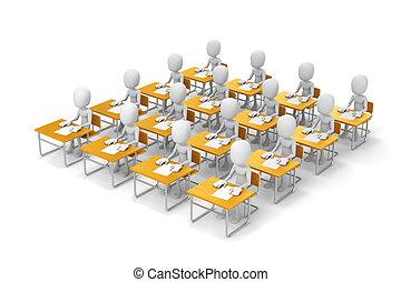 achtergrond, student, witte , 3d, klaslokaal, man
