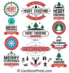 achtergrond, typografisch, vrolijk, jaar, nieuw, kerstmis, ...