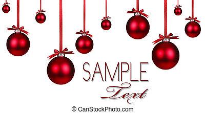 achtergrond, vakantie, kerstmis, rood, ornament