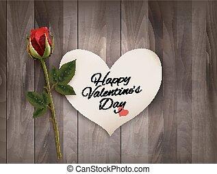 achtergrond, valentine, houten, rose., aantekening, muur, vector., dag, rood, vrolijke