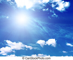 achtergrond, van, blauwe hemel, en, zon