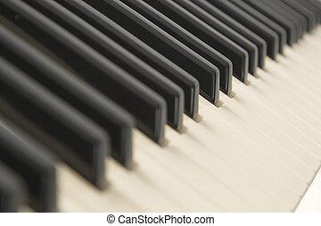 achtergrond, van, een, pianotoetsenbord