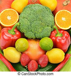 achtergrond, van, fruit en groenten