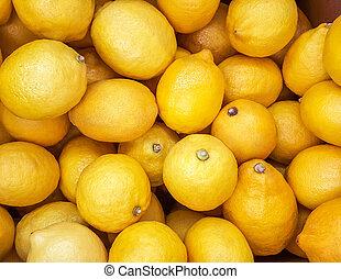 achtergrond, van, gele, lemons.