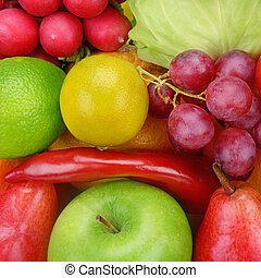 achtergrond, van, groentes, en, vruchten