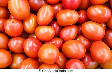 achtergrond, van, rood, tomatoes.