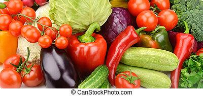 achtergrond, van, set, groentes