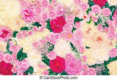 achtergrond, van, velen, bloemen, floral decoratie, wall., gematigd, deeg