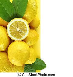 achtergrond, van, verse citroenen