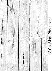 achtergrond, van, verweerd, witte , geverfde, hout