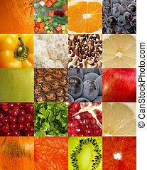 achtergrond, van, vruchten