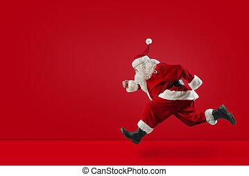 achtergrond, vasten, claus, rood, looppas, kerstman